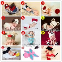 baby photography props - Newborn Baby set Infant Handmade Animal Crochet Hat Costume Photo Photography Prop