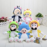 Wholesale 5pcs set Super Mario world quot cm Super Mario Bros Cat Luigi Mario Peach Mushroom Plush Stuffed Doll Toy
