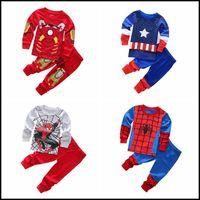 Wholesale 2015 kids superhero cartoon cotton pajamas boys girls superman ironman spiderman batman home wear suit pajama pyjamas J092105