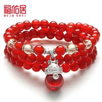 Wholesale Brazil ranks bliss natural agate bracelet Lucky cat multilayer bracelets loopy female hand jewelry sweet red corundum