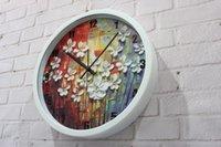 ancient european art - New fashion European rural creative arts Oil painting wall clock restoring ancient ways Quartz clocks bracket Mute the clock
