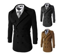 Wholesale warm slim pea coat men s long wool coat Men s solid color coat double breasted coat and long sections DF03Y NEW