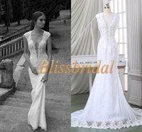 Wholesale Wedding Dresses Real Image Deep V Neck Sleeveless Sheath Chiffon Appliques Lace Beading Button Back Sheer See Through Wedding Dress White