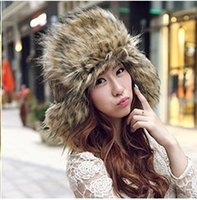 Wholesale Autumn and winter warm super Plush cap Lei Feng Ms male eared hats flax fox fur cap D476
