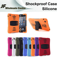 Cheap Multifunction Case for iPad mini 1 2 3 Dropproof Shockproof Silicone Back Cover Case with Kick Stand Protective Shell for ipad 2 3 Air