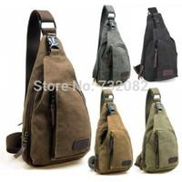 Wholesale 3 Men s Small Canvas Military Messenger Shoulder Travel Hiking Bag BackpackE4842 khak