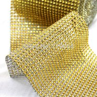 Wholesale Hot Sale Gold x30FT Yards Rows Diamond Mesh Sparkle Rhinestone Wrap Ribbon Roll Wedding Party Home Decor