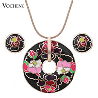 enamel paint - Trendy Gold or Silver Plated Colors Copper Metal Hand Painted Enamel African Jewelry Set Vs Vocheng Jewelry