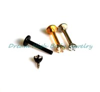 Wholesale New Arrival Zircon Vacuum plating Titanium lip stud labret ring earring fancy body piercing jewelry character