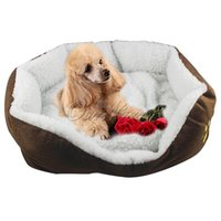 Wholesale Soft Dog Nest Puppy Cat Bed Fleece Warm House Kennel Plush Mat Cushion Pet Product Supplies Size S L