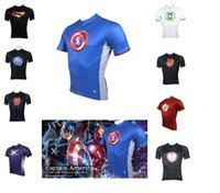 Wholesale Spiderman Cycling Tops - Super heroes short sleeve jersey batman spiderman The Avengers The Flash team cycling jersey high quality Cycling Shirts & Tops