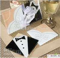 glass coasters - 2015 New Arrival Bride Groom Tuxedo Glass Drink Coasters Cup Mat for Wedding Party Favors and Gifts set Designs