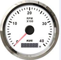 Wholesale 85mm marine boat car truck tachometer stainless steel bezel white faceplate indicating range KL for diesel engine