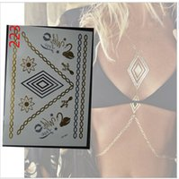 Wholesale Shimmer Body Art Wholesale - Wholesale-2015 new sex produc metallic tattoos shimmering gold necklace choker bracelet flash tattoos fake body art