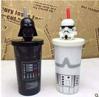 Wholesale Cartoon Star Wars Water Bottles Jedi Knight Vacuum Cup Helmet Mugs Newest Creative Straw Cups Warm Keeping Kettle Darth Vader Mug Cups