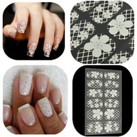 Wholesale Fashion Sheet D DIY White Lace Nail Art Full Wraps Decoration Acrylic Decal Stickers Tips Manicure Tools