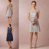A-Line sky blue wedding dress - Celia Silver Grey Lace Bridesmaid Dresses Jewel Neckline Sleeveless Knee Length Keyhole Back Navy Blue Short Wedding Part Dress Prom Gowns