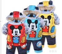 Cheap New cartoon cotton-padded clothes suit baby infant dog fleece two-piece witner outfit set