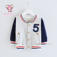 assorted products - 2015 Spring Autumn New Products Little Boys Baseball Jackets Assorted Colors Long Sleeve Outwear For Kids Leisure Joker Children Tops K597