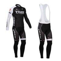 trek bike - 2014 TREK men winter fleece thermal cycling Jersey sets with long sleeve bike top bib pants in cycling clothing bicycle wear