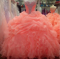 Wholesale 2015 New Orange Coral Quinceanera Dresses Sweetheart Formal Prom Party Ball Gown Organza Ruched Sweet