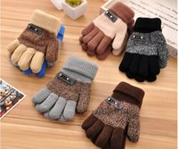 Wholesale Children Knitted Gloves Five Fingers Skiing Gloves Quality Winter Warm Gloves