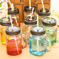 Wholesale 2 My Personality Gradient Color Mason Jar Bottle For icecream Fruit Installed Cold Drink Infusion Colored Glass Water Bottles