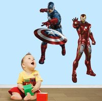 Wholesale Superhero Captain America Iron man D Movie Wall Stickers The Avengers Removable Vinyl Wall Sticker Decals Kids children Room Decor Sticker