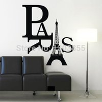 Wholesale Paris Art Eiffel Tower Removable Wall Stickers Decals Quote Home Decor Vinyl WS