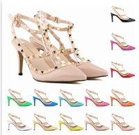 оптовых указывающего рукой-Ручная работа с новой девушкой Модные туфли на высоком каблуке Девочка с острыми носками для вечеринок в клубах с заклепками Разноцветная обувь 13 Цвет A142B8