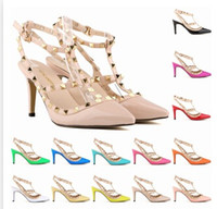 Wholesale Hand Made New Lady Fashion High heeled Shoes Girl Pointed Toe Party Club Banquet Rivet Shoes Multicolor Shoes Color A142B8
