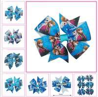 Wholesale 3 quot Baby Frozen Bows With Alligator Clips Handmade Ribbon Hair Bow Cute Pinwheel Princess Elsa Anna Hair Clips