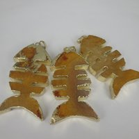 Wholesale High Quality Freeshipping Natural Yellow Druzy Ocean Jasper Stone Fish Lovely Dyed Women Jewelry Drusy Pendant Silver Plated Edged Quartz