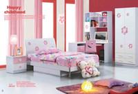 Wholesale Pink Flower Girl Dream House Furniture Bedroom Furniture wood furniture Bed desk wardrobe cabinet boy girl bedroom MYL8816
