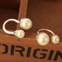 Cheap The New Elegant Lady U Shape Love Pearl Ring Adjustable Open Midi Rings For Women
