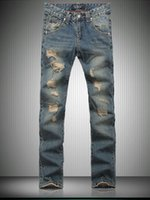 Wholesale 2015 philipp plein New fashion men s skull hole jeans male personality denim pants men s high quality jeans