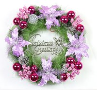 Wholesale New Christmas decorations Christmas wreath cm red gold purple wreath Door hang hang wall decoration
