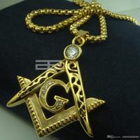 american masons - Mens k gold fiiled Freemasonry Masonic Mason Pendant Free chain necklace N214
