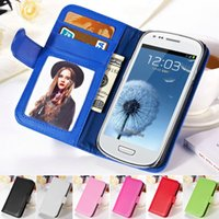 Cheap Wholesale-i8190 Photo Frame Flip Cover PU Leather Phone Bag Case For Samsung Galaxy S3 Mini i8190 Wallet Style Stand Design With Card Slot