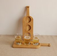 Wholesale Eco friendly Handcrafted Holes Wine Bottle Shape Bamboo Beer Tasting Serving Paddle Beer Flight Beer Tray Cup Tray Beer Holder Bar Tools