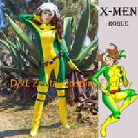 Wholesale DHL X Men Rogue Cosplay Costume Yellow And Green Lycra Spandex Catsuit Superhero Halloween Costume For Women