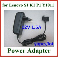 Wholesale 50pcs DHL AC V to DC V A W Power Adapter Supply for Lenovo IdeaPad A1 K1 S1 Y1011 Tablet PC EU US UK Plug Wall Charger