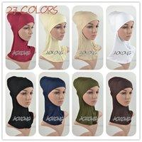 plain jerseys - Full Inner Muslim Hijab Cap Cotton Viscose Jersey Plain Soild Hijab Underscarf Islamic Head Wear Hat Women Bonnet Tubes Wraps