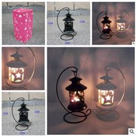 Wholesale 2014 colors Pentagram hollow out wrought iron candlestick Creative wedding romantic storm lantern fine jewelry arts crafts topB946