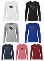 arizona t shirts - Arizona Cardinals Chest embroidered logo women T Shirt Grey long sleeved sweatshirt mixed order size S XXXL