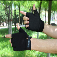 badminton fitness training - Cycling Gloves Spring summer non slip sunscreen breathable semi finge outdoor fitness Weight training Racing hunting gloves