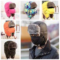 Wholesale Olney Winter Warm Lei Feng Cap Waterproof Thick Hat With Mask Warm Earflap Hats Skiing Caps Faux Fur Trapper Hats Women Men
