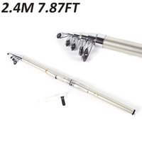 Cheap 2.4M 7.87FT Glass Fiber Portable Telescopic Sea Fly Carp Fishing Rod Travel Spinning Fishing Pole