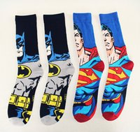 Cheap 24pcs=12pair NEW Christmas knitted cotton cool men cartoon superman batman Film Fans Plantlife Skateboarding Sport Socks 12pairs lot