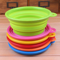 Wholesale Pet Cat Dog Silicone Travel Bowl Dog Feeder Kitty Dishes Non Toxic Foldable Collapsible Colorful